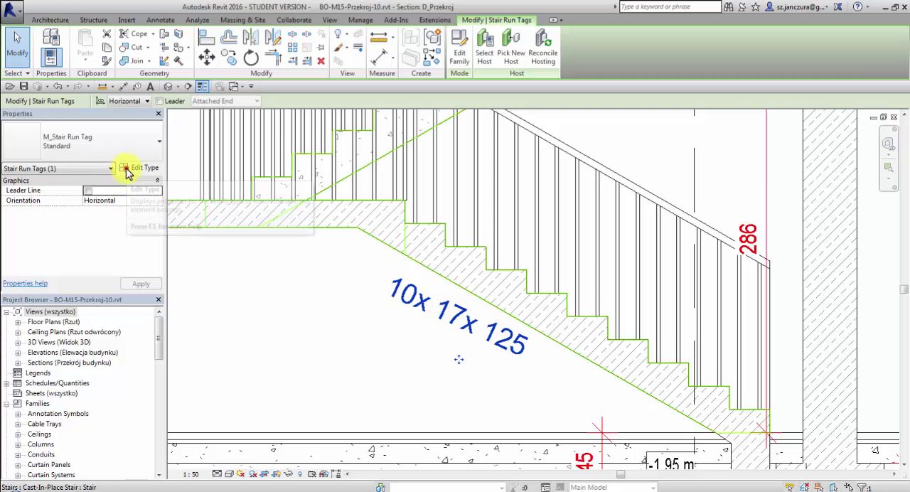 Angle parameter in a stair tag family